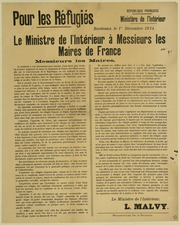 circulaire 1er décembre 1914